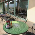 Cute outdoor dining patio for nice weather