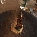 Braised morel mushroom over walnut raita