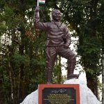 This is the statue of Tenzing Norgay Sherpa just outside the museum.
