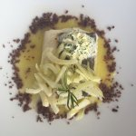 Cod with orange sauce, fennel, black olive crumb and herb butter