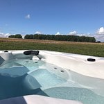Outdoor hot tub, countryside views