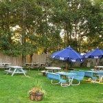 Back yard seating in beautiful setting