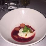 coconut panna cotta and berry champagne