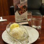 Coconut ice cream served with Passion fruit ice cream. Very good matching