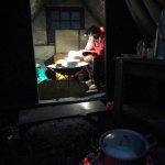 Chef makes dinner by headtorch