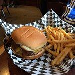 My husband's hamburger and fries.