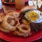 Loco Coyote Grill's Aussie Burger with Onion Rings