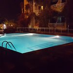 Pool and hotel at night