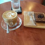 Flat white and brownie