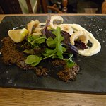 Fried squid with home-made tapenade and aioli
