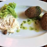 Starter: FETA CHEESE CROQUETTES (with olives,walnuts and Waldorf salad)