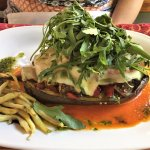 Main course: BAKED AUBERGINES (with grilled vegetables and topped with mozzarella)