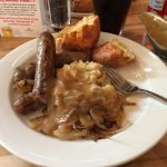 The Bangers and Mash with a Yorkshire pudding I already split open.