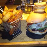 Burger and chips in the bar!