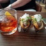 "Negroni and ""hot dogs"" (sausages)"