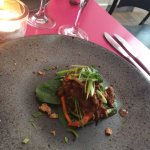 2nd starter Indonesian beef curry on a vegetables salad