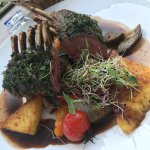 Lamb rack with potato and mixed vegetable
