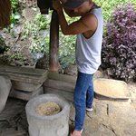 You can experience traditional milling of rice