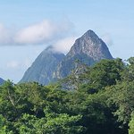 view of the Pitons from Silver Palm