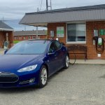 Tesla charging at the Westway. Guests can enjoy free Electric Vehicle charging!