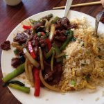 Mongolian beef with fried rice, 11.25