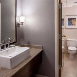 Deluxe Double room features a double vanity for more space.