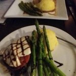 Flat Iron steak and Flat Iron Fresco, both with house mashed potatoes and grilled asparagus.
