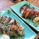 Left - california sushi roll, right - futomaki sushi roll.