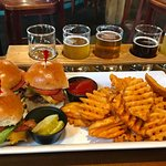 Chicken tenders, bacon cheeseburger sliders, flight of beer. All delicious!