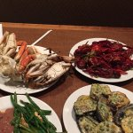 Crab legs, chargrilled oysters, crawfish, red beans and rice