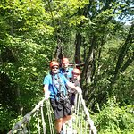 On one of the two rope bridges