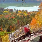 Hiking view of the beautiful lake and colors