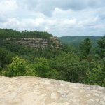 On top of Natural Bridge looking over to Overlook Point