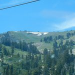 Snow at top of mountain in July.