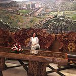 the hotel has teak wood carvings furnitures displayed at the main room.