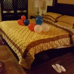 Room decorated with balloons