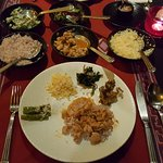 Traditional Bhutanese meal