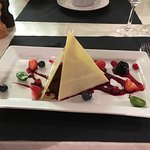 Our desserts finishing a great meal, white & dark chocolate pyramid and the banana toffee vodka