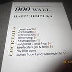 happy hour drink menu