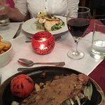 Sirloin Steak and Trio of Cornish Fish