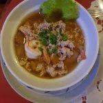 soupe crevette et viande légèrement relevé