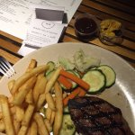 Steak Vegies and chips