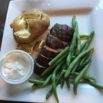 Pan Seared Steak, Baked Potato & steamed green beans for my food allergic child