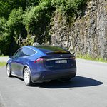 Electric Tesla X complete with gull wing doors -