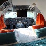 The stunning 747-200 cockpit room at Jumbo Stay Stockholm.