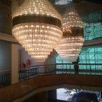 Hotel Lobby with beautiful Chandelier Lighting