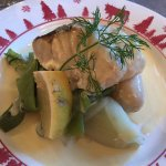 Fish, with steamed vegetables