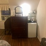 mini fridge, coffee maker in room