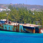 Shipwreck off to the side of restaurant