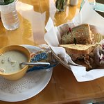 clam chowder and Haddock Reuben (special of the day)